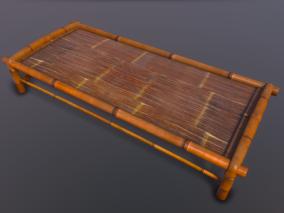 次世代 竹床 床 乘凉 复古 童年回忆 3d模型