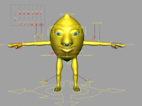 maya表情绑定 柠檬 梨子带面部口型 张嘴闭眼 次时代水果 鸭梨模型 3d模型
