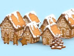 卡通建筑 卡通场景配件 多边形房子 房屋 农场小镇 手绘房子 3d模型
