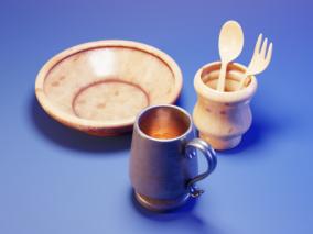 餐具  器皿   碗  杯子  叉子  勺子 3d模型