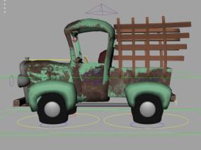 maya绑定卡通小货车卡车带拉伸变形的Q版汽车 农场运输车 3d模型