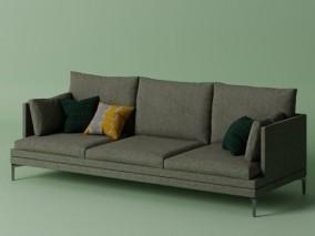 现代沙发 三人沙发 布艺沙发 室内家具 3d模型
