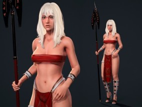 ue4 原始人 漂亮的酋族女战士 带绑定动画 美女 长矛 虚幻4 3d模型