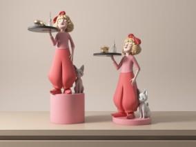 托着盘子的女孩雕塑摆件