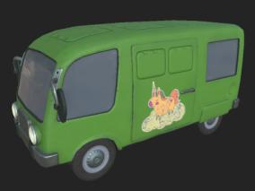 面包车 绿色巴士 公交巴士 小面包车 巴士 小巴士 卡通汽车 q版面包车