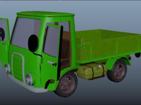 绿色拉货卡车 货车 小货车 翻斗汽车 汽车 小卡车 复古卡车  3d模型