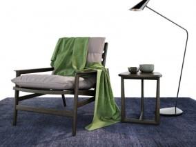 休闲单椅 椅子 新中式单椅 落地灯 桌几