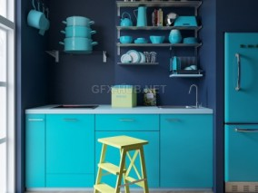 厨房 小厨房 公寓厨房 蓝厨房 厨房美陈