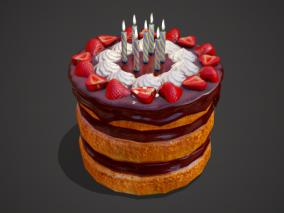 PBR生日奶油蛋糕 跨年新年 生日蜡烛 夹心蛋糕 甜品 甜点 巧克力蛋糕 食物 3d模型