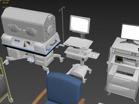 25组医疗器械 包括 呼吸机 心电监护 铁肺 医疗床等 动画模型 3d模型