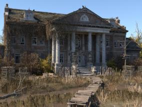 破旧庄园  破败庄园   荒废房子   3d模型
