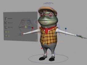 maya表情绑定卡通蜥蜴青蛙变色龙模型带表情绑定