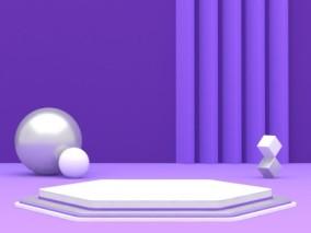 紫色电商陈美舞台竖版 3d模型
