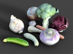 蔬菜 青菜 西兰花 洋葱 橄榄菜黄瓜 胡罗卜 3d模型