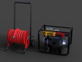消防用具 手提 软管卷盘 移动水泵 写实