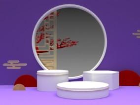 紫色电商陈美舞台横版 中秋月圆 3d模型