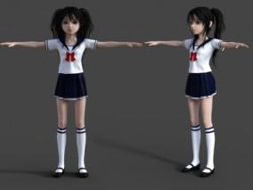 卡通女学生 水手服 学生服装 女同学 卡通角色