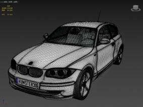 BMW 1 Series 3-door 2009 FBX宝马汽车 3d模型