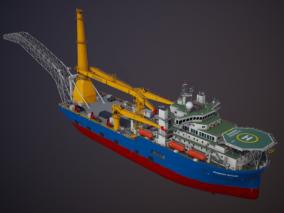 PBR 工程船 补给船 补给舰 海上补给 搜救船 救援船 铺管船 运输船  3d模型