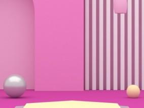 粉色电商陈美舞台竖版 3d模型