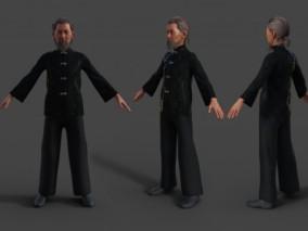 中国风唐装 传统服饰 武师 艺术家 算命老头 老爷爷 民国服装 3d模型
