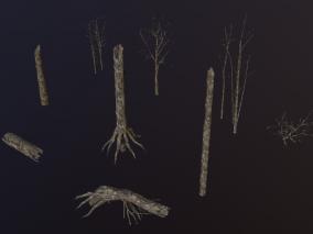 高精度 枯树 树桩 枯树 鬼树 树枝 树干 古树 老树 干枯树木 3d模型
