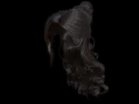发型   丸子长发 3d模型