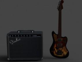 电吉他 音响  乐器 3d模型