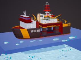 卡通 工程船 补给船 补给舰 海上补给 搜救船 救援船 铺管船  3d模型