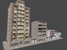 破旧房子街道 平民窟 涂药街道 房子 小区 街道 3d模型