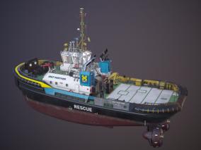 PBR 工程船 补给船 拖船 拖轮 搜救船 救援船 铺管船 浮吊船 作业船  3d模型