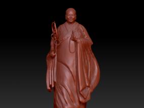 可以3D打印的西安大雁塔 南唐僧雕塑 3d模型