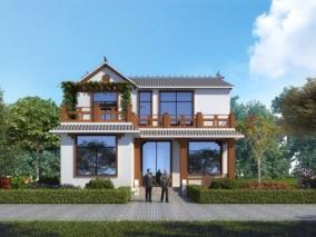 新中式别墅外观,建筑室外,外景外立面,植物灌木,人物