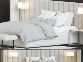 现代布艺双人床床头柜