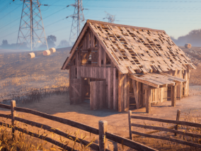 ue4 超高写实农场 湖泊 大自然景色 美国西部乡村景色 木屋 夜景 虚幻4 3d模型