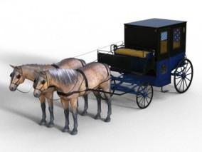 马车 西方19世纪马车 写实