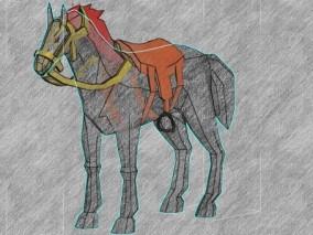 马 有骨骼 3d模型