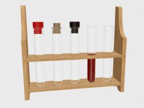 试管 试管架 化学实验 3d模型