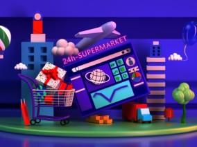 卡通积木风电商平台创意场景 飞机 购物车UI图标 图标 动画漫画 网页元素 礼物 高楼 C4D元素