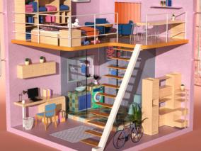 卡通房间 卡通卧室 卡通风格家居