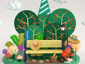 卡通风格长椅绿植休闲 商场美陈dp 绿植美陈dp 休闲椅公共休息区美陈 造景美陈dp