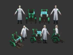 老博士 科学家 医生 老学者 轮椅 手绘角色