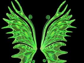 绿色时尚魔幻风格 简约翅膀  3d模型