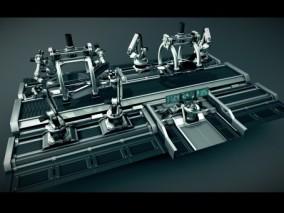 未来 机器人 智能 产业链 汽车制造 传送带 马达 引擎 车间  工厂 阀门 管道 涡轮 科技