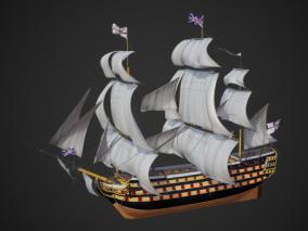 英国皇家海军风帆战列舰胜利号 货船 远洋船 大航海时代战舰 帆船 中世纪战船 西方战船 欧洲战船
