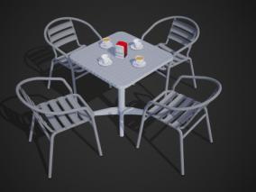 次世代PBR 露天咖啡座 休闲桌椅 凉椅 户外 咖啡桌 咖啡 糖包 抽纸盒 拿铁 咖啡伴侣