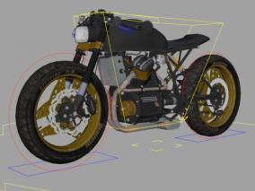 maya绑定机械模型本田650摩托车机车带骨骼