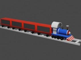 lowpoly卡通玩具火车 列车 玩具 3d模型