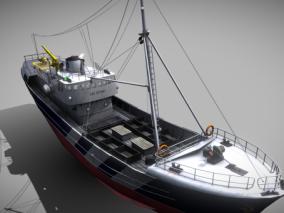 PBR 工程船 补给船 铺管船 运输船 救生船 起重船 浮吊船 作业船 3d模型