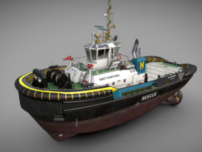PBR 工程船 补给船 拖船 拖轮 运输船 救生船 起重船 浮吊船 作业船 3d模型